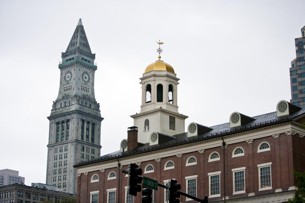 Faneuil Hall with Custom House Tower in Background - Boston