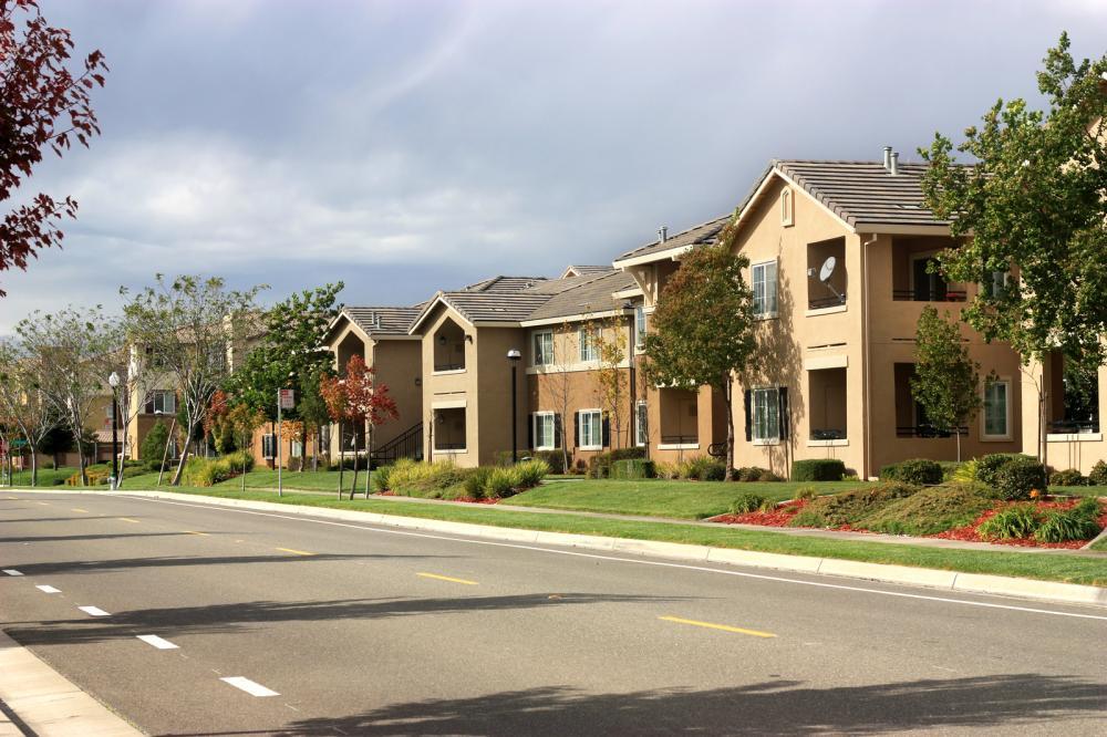 Modern Apartment Complex in Suburban Neighborhood